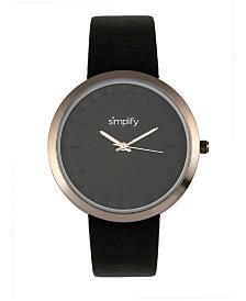 Simplify Quartz The 6000 Gunmetal Case, Black Leatherette Watch 43mm