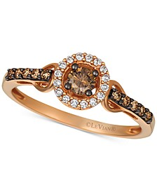 Chocolatier® Diamond Halo Cluster Ring (1/3 ct. t.w.) in 14k Rose Gold