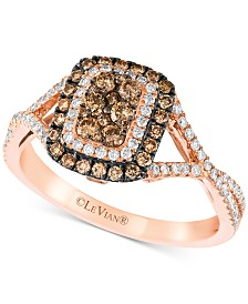 Le Vian Chocolatier® Diamond Halo Ring (5/8 ct. t.w.) in 14k Rose Gold