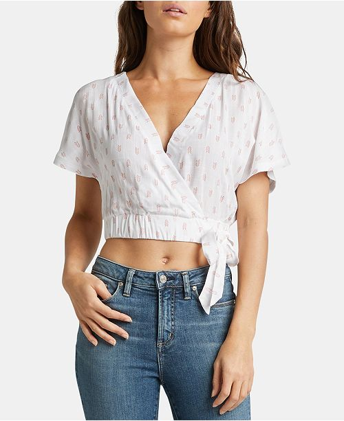 Silver Jeans Co. Samira Printed Cropped Surplice Top