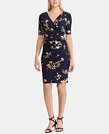 Lauren Ralph Lauren Petite Floral Ruched Jersey Dress