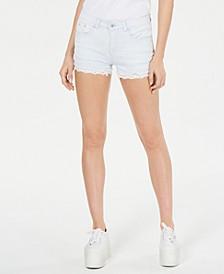 Lace-Hem Denim Shorts