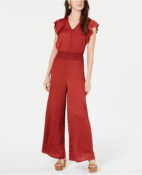Current Air Smocked Pleated Jumpsuit