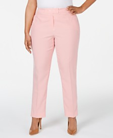 Anne Klein Plus Size Striped Seersucker Pants