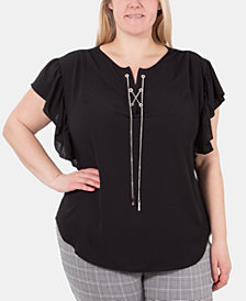 NY Collection Plus Size Lace-Up Flutter-Sleeve Top