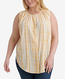 Lucky Brand Plus Size Striped Sleeveless Shirt