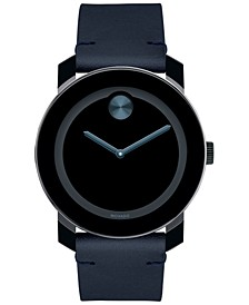 Men's Swiss Bold Dark Navy Leather Strap Watch 42mm