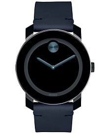 Movado Men's Swiss Bold Dark Navy Leather Strap Watch 42mm