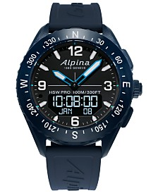 Alpina Men's Swiss Analog-Digital Alpiner X Blue Rubber Strap Hybrid Smart Watch 45mm