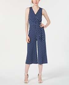 Jessica Howard Petite Polka-Dot Cropped Jumpsuit
