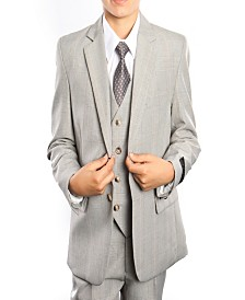 Tazio Glen Plaid Classic Fit 2 Button Vested Suits for Boys
