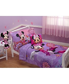 Disney Minnie Mouse Fluttery Friends 4 Piece Toddler Bed Set