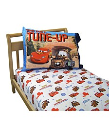 Cars Team Lightning McQueen 2 Pack Super Soft Fitted Toddler Sheet and Pillowcase Set