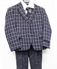 Classic Fit Windowpane 2 Button Suits for Boys