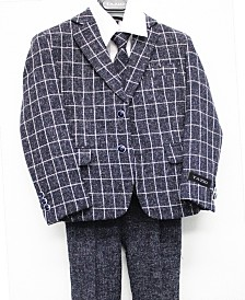 Tazio Classic Fit Windowpane 2 Button Suits for Boys