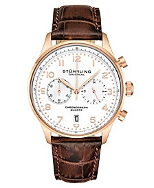 Men's Chrono, Rose Gold Layered Case, White Dial, Brown Leather Strap Watch