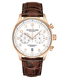 Stuhrling Men's Chrono, Rose Gold Layered Case, White Dial, Brown Leather Strap Watch