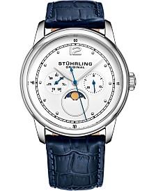 Stuhrling Men's Quartz, Silver-tone Case, White Dial, Blue Leather Strap Watch