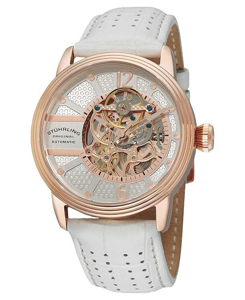 Stuhrling Stainless Steel Rose Tone Case on White Perforated Alligator Embossed Genuine Leather Strap with Gray Contrast Stitching, Silver Skeletonized Dial, with Rose Tone Accents