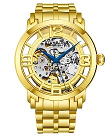 Stuhrling Stainless Steel Gold Tone Case on Stainless Steel Link Bracelet, Gold Tone Dial, with Blue Accents