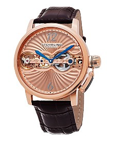 Stuhrling RT Case, Genuine Brown Leather Strap, Rose Tone Dial