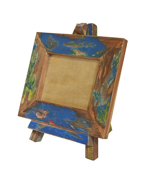 "AB Home Repurposed Wood Photo Frame with Easel Stand, 7"" x 9"" Opening"
