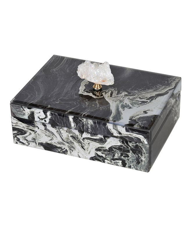 AB Home Black Marbled Jewelry Case, Large