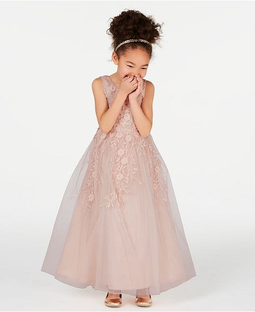 Rare Editions Matching Sister Dress Toddler, Little & Big Girls Embroidered Mesh Ball Gown