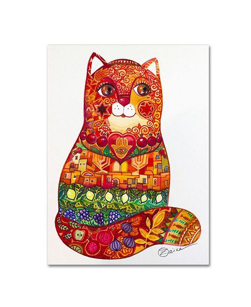 "Trademark Global Oxana Ziaka 'Judaica Folk Cat' Canvas Art - 32"" x 24"" x 2"""