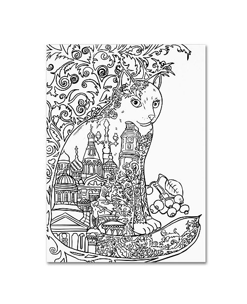 "Trademark Global Oxana Ziaka 'Saint Petersburg Cat: LINE ART' Canvas Art - 32"" x 24"" x 2"""