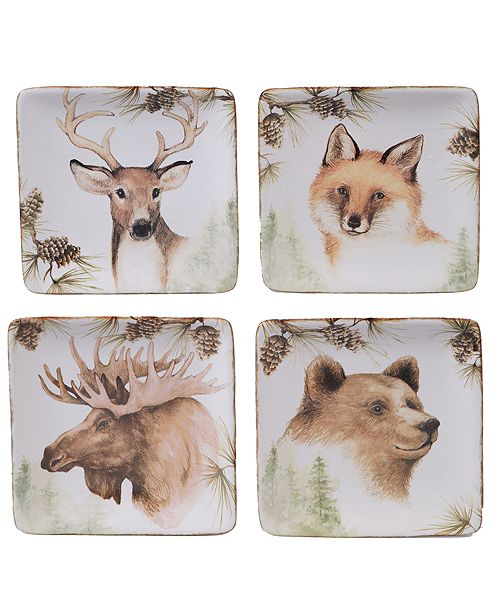 Certified International Mountain Retreat 4-Pc. Square Canape Plate