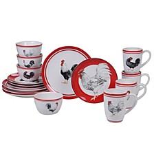Homestead Rooster 16-Pc. Dinnerware Set