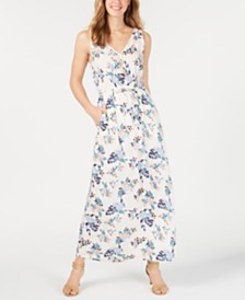 Lucky Brand Floral Printed V-Neck Maxi Dress