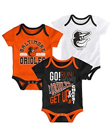 Outerstuff Baby Baltimore Orioles Newest Rookie 3 Piece Bodysuit Set