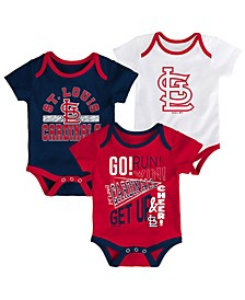 Baby St. Louis Cardinals Newest Rookie 3 Piece Bodysuit Set