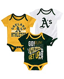 Baby Oakland Athletics Newest Rookie 3 Piece Bodysuit Set