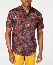 Tasso Elba Men's Stretch Geo Floral-Print Shirt, Created for Macy's