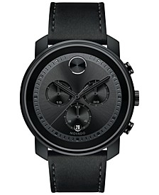 Men's Swiss Chronograph Bold Black Leather Strap Watch, Created for Macy's,  44mm