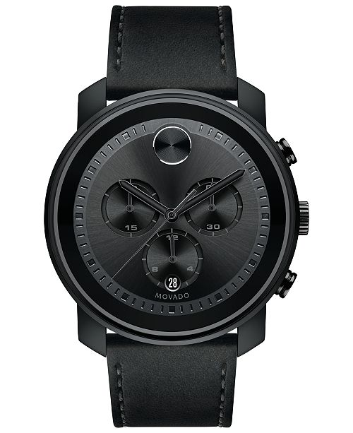 Movado Men's Swiss Chronograph Bold Black Leather Strap Watch, Created for Macy's,  44mm