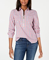 ad270ce5a70b11 Tommy Hilfiger Popover Zip-Neck Plaid Top, Created for Macy's