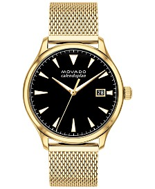 Movado Men's Swiss Heritage Gold Ion-Plated Stainless Steel Mesh Bracelet Watch 40mm