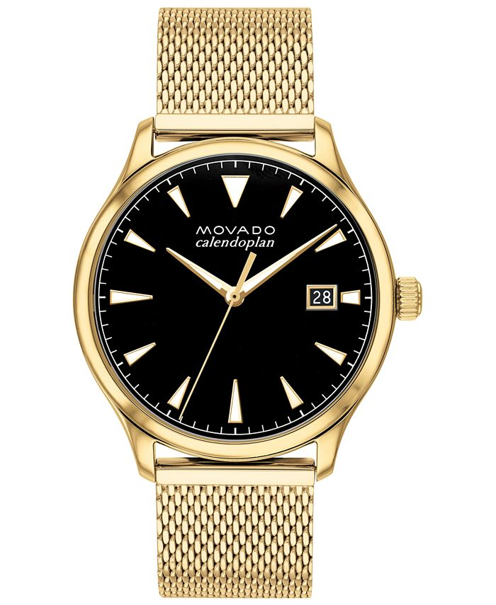 Movado - Men's Swiss Heritage Gold Ion-Plated Stainless Steel Mesh Bracelet Watch 40mm