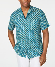 Tasso Elba Men's Geo-Print Camp Collar Silk Shirt, Created for Macy's