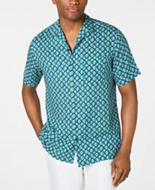 Tasso Elba Men's Geo-Print Camp Collar Silk Shirt, Created for Macy's