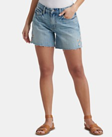 Lucky Brand Cotton Embroidered Boyfriend Shorts