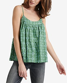 Cotton Geometric Embroidered Tank