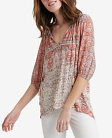 Lucky Brand Kelly Printed Kelly Peasant Top