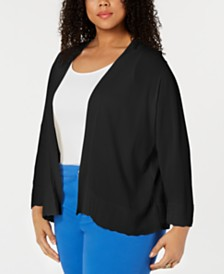 Charter Club Plus Size Scalloped-Edge Open-Front Cardigan, Created for Macy's
