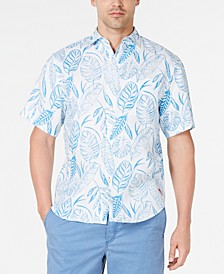 Men's Azzano Fronds Palm-Print Linen Camp Shirt
