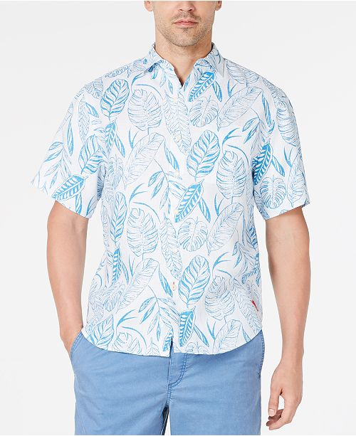 Tommy Bahama Men's Azzano Fronds Palm-Print Linen Camp Shirt